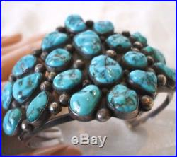 Signed Vintage NAVAJO Heavy Sterling Silver & CLUSTER TURQUOISE Cuff BRACELET