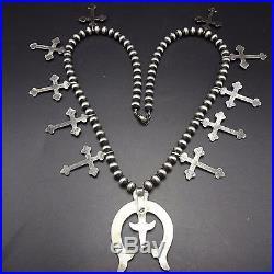 Signed Vintage NAVAJO Sterling Silver Cast Naja & CROSS SQUASH BLOSSOM Necklace