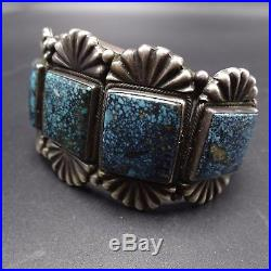 Signed Vintage NAVAJO Sterling Silver & Gold Canyon TURQUOISE Cuff BRACELET, 86g
