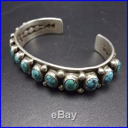 Signed Vintage NAVAJO Sterling Silver & Spiderweb TURQUOISE Cuff BRACELET, 41g