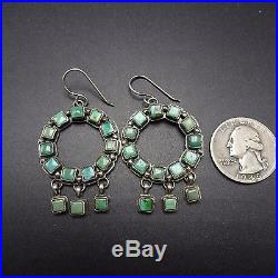 Signed Vintage NAVAJO Sterling Silver & Square TURQUOISE Cluster EARRINGS