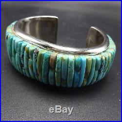 Signed Vintage NAVAJO Sterling Silver & TURQUOISE Cornrow Inlay Cuff BRACELET