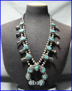 Signed Vintage Navajo Morenci Turquoise Sterling Silver Squash Blossom Necklace