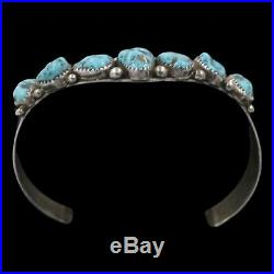 Signed Vintage Navajo Native American Turquoise Sterling Silver Cuff Bracelet