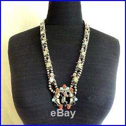 Signed Vintage ZUNI Sterling Silver HUMMINGBIRD Inlay SQUASH BLOSSOM Necklace