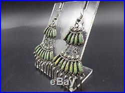 Signed Vintage ZUNI Sterling Silver TURQUOISE Needlepoint Chandelier EARRINGS