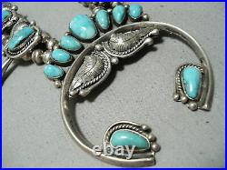Signed Women's Vintage Navajo Turquoise Sterling Silver Squash Blossom Necklace