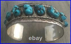 Signed/stamped Vintage Navajo Kingman Turquoise & Sterling Silver Row Bracelet
