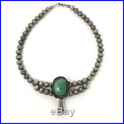 Small Turquoise Navajo Squash Blossom Necklace Choker Unsigned 34g Sterling VTG