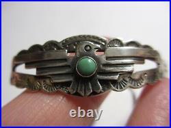 Small Vtg Navajo Fred Harvey Era Sterling & Turquoise Thunderbird Cuff Bracelet