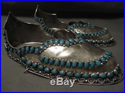 Smithsonian Quality Vintage Navajo Sterling Silver Turquoise Shoe Guards