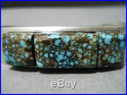 Statement Vintage Navajo Cubed #8 Turquoise Sterling Silver Bracelet Old