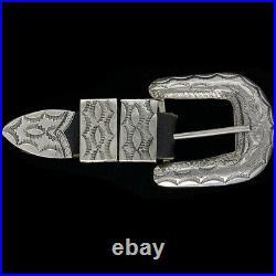 Sterling Silver Navajo Native American Ranger Set 1970s NOS Vintage Belt Buckle