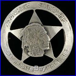 Sterling Silver Rare Fort Apache Police Indian Native American Vtg Belt Buckle