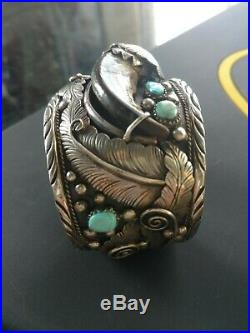 Sterling Silver Turquoise Bear Claw Cuff Bracelet 113gr native American vintage