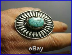 Sterling Silver Turquoise Native American Navajo Huge Ring Vintage Size 9