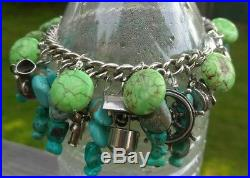 Sterling Silver Turquoise Native American Vintage Charm Bracelet