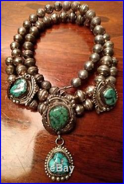 Sterling Silver Turquoise Squash Blossom Necklace Vtg NAVAJO Feathers Raindrops