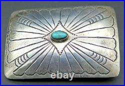 Sterling Silver Turquoise Stone Southwest Signed AB Vintage Belt Buckle