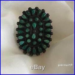 Sterling Silver Vintage 925 Navajo Turquoise Cluster Statement Ring Size 6.5
