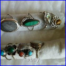 Sterling Silver Vtg Ring Lot Mexico Turquoise Multi Stone No Scrap Native sz4 6