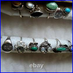 Sterling Silver Vtg Ring Lot Mexico Turquoise Multi Stone No Scrap Native sz5 4