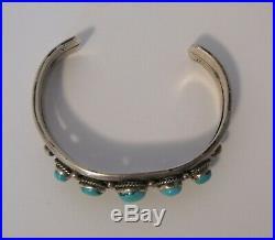 Sterling Vintage Pawn Navajo 5 Nugget Turquoise Cuff Bracelet Rope Design