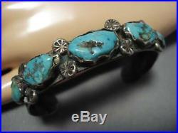 Striking Vintage Navajo Zuni Blue Gem Turquoise Sterling Silver Bracelet Old