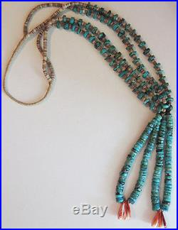 Striking Vintage Santo Domingo Turquoise Heishi Bead Jocklas Necklace