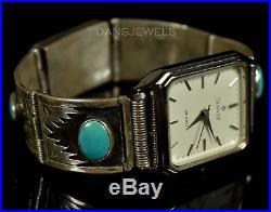Stunning Old PAWN Navajo Vintage Sterling Mens Box Turquoise Watch Bracelet