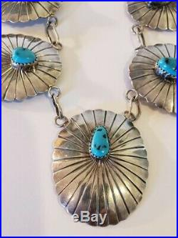 Stunning Vintage Native American Sterling Silver Turquoise Concho Necklace