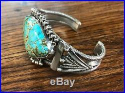 Stunning Vintage Navajo Turquoise Sterling Silver Bracelet Cuff Old