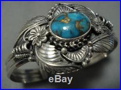 Stunning Vintage Navajo Turquoise Sterling Silver Cuff Bracelet