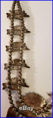 Stunning Vintage Zuni Native American Sterling Silver Squash Blossom Necklace