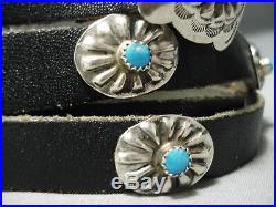 Superb Vintage Navajo Hand Wrought Sterling Silver Turquoise Concho Belt