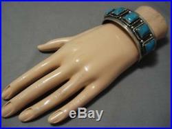 Superlative Vintage Navajo Blue Gem Turquoise Sterling Silver Bracelet Old