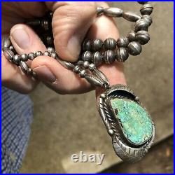 Sweet! Vintage Navajo Southwestern Sterling Silver & Turquoise Pendant Necklace