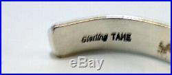 TAHE Design SIGNED STAMPED STERLING SILVER NAVAJO VINTAGE STACKING CUFF BRACELET