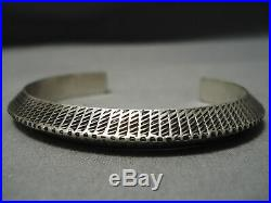 Thick And Intricate! Vintage Navajo Sterling Silver Native American Bracelet