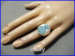 Thick Heavy Vintage Zuni Native American Turquoise Bird Sterling Silver Ring