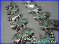 Thomas Singer Vintage Navajo Turquoise Sterling Silver Squash Blossom Necklace