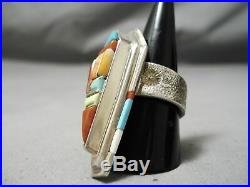 Tremendous Vintage Navajo David Tune Turquoise Sterling Silver Inlay Ring