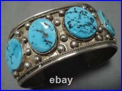 Tremendous Vintage Navajo Turquoise Sterling Silver Native American Bracelet