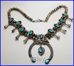 Turquoise & Sterling Silver Squash Blossom Necklace Navajo Vintage