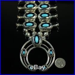 Turquoise shadowbox Squash Blossom necklace vintage Navajo sterling silver. 925