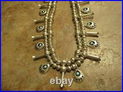 UNUSUAL Vintage Navajo Sterling Turquoise Bear Paw SQUASH BLOSSOM Necklace
