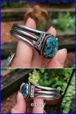 VINTAGEOLDPAWNNavajoSTERLING SILVERBISBEE TURQUOISE NUGGET Cuff Bracelet