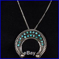 VINTAGE FRED HARVEY ERA Sleeping Beauty Turquoise Small Naja Pendant Necklace