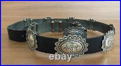 VINTAGE Handcrafted Navajo Sterling Silver and Leather Concho Belt- 36 Long