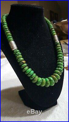 VINTAGE Jay King DTR Sterling Silver GREEN TURQUOISE GRADUATED DISK NECKLACE 20